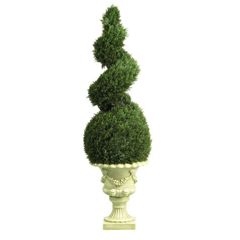 silk topiary 4 foot cedar spiral topiary in decorative urn 5222
