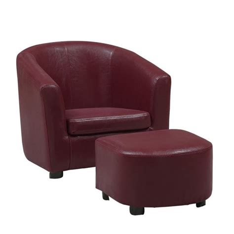 faux leather chair and ottoman kids chair and ottoman set in red faux leather i 8105