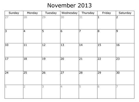 Calendar November 2013 Printable Calendar Free 2013 Calendars