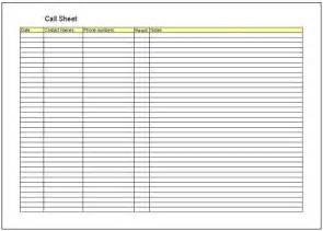 Cold Call Sheet Template by Call Sheet Template Excel