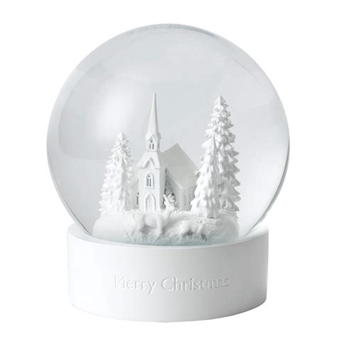 white snow globe christmas decoration  wedgwood silver superstore