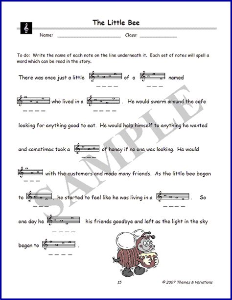story name the bee story for practicing the names of notes in the treble clef
