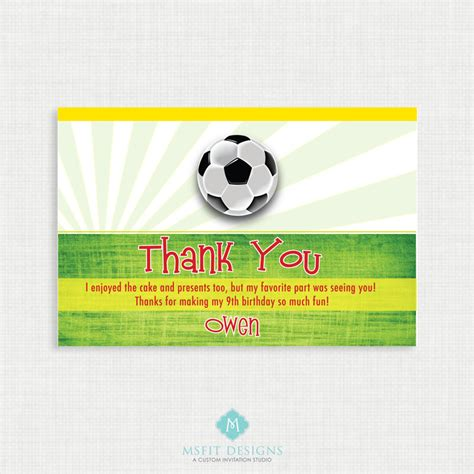 soccer thank you card template printable birthday invitation soccer birthday thank you