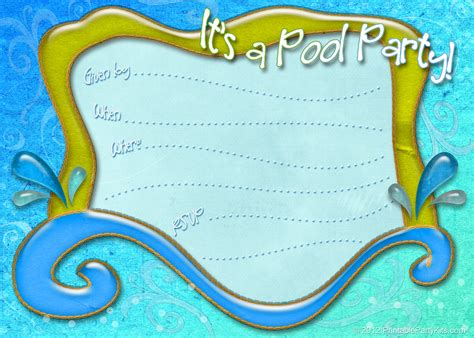 pool invitations free templates and luau printable kits