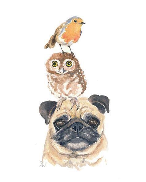 watercolor pug original animal watercolor pug watercolour by waterinmypaint 50 00 2d
