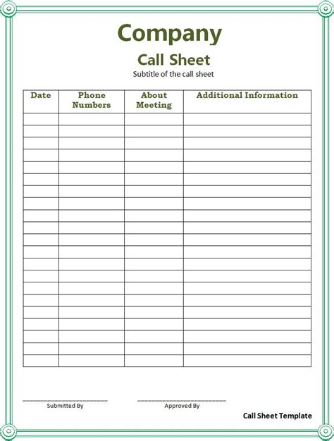 Call Sheet Template Professional Templates Pinterest Call For Sponsorship Template