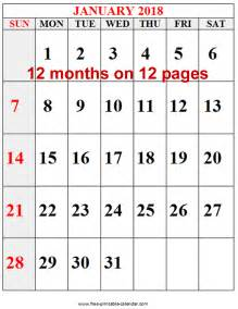 Calendar 2018 By Month Free Printable Calendars For Free Free 2018 12