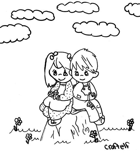 coloring page of little girl and boy free little girl and boy coloring pages