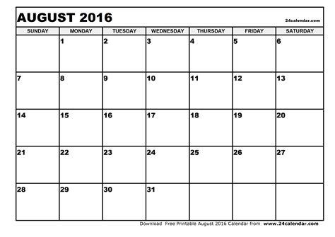 Calendar Printable 2016 Blank Blank August 2016 Calendar In Printable Format