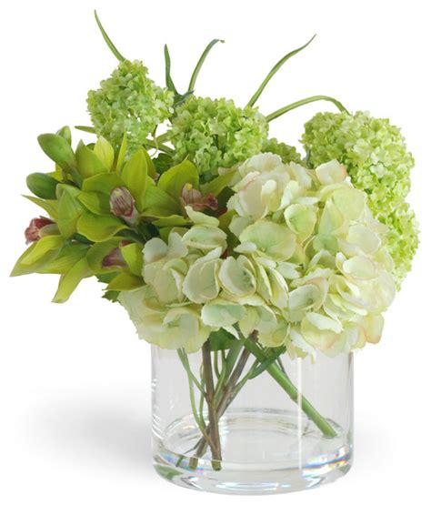 artificial floral arrangements green cymbidium orchid and hydrangea arrangement
