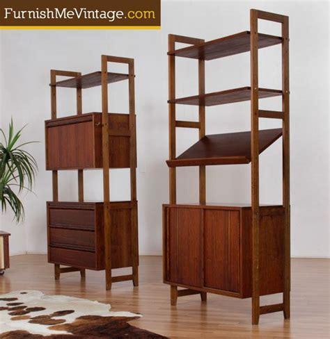 set of two mid century modern modular shelving units
