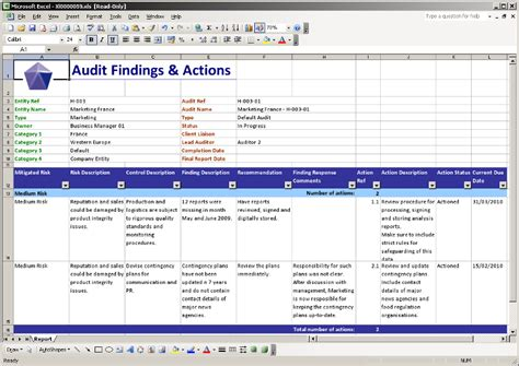Findings Report Template Word Image Gallery Audit Work