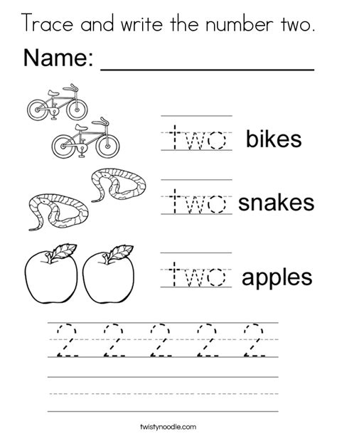 printable trace and write numbers trace and write the number two coloring page twisty noodle