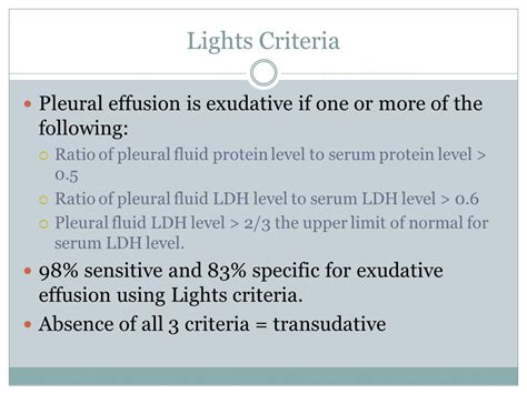 Light Criteria by Pleural Effusion Marvin Chang Pgy2 April Ppt