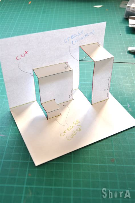 simple pop up card template pop up tutorial 2 asymmetric box fold the green box