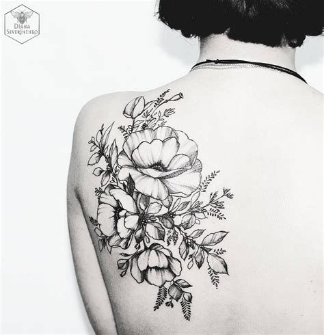 black flower tattoo black floral by diana severinenko ink