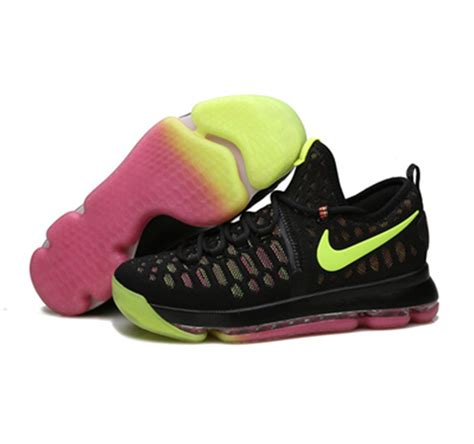 black pink yellow nike kd 9 shoes pink yellow black shoes