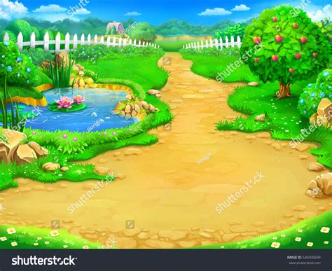 House Design Games English by Fairy Tale Cartoon Background Digital Art Stock
