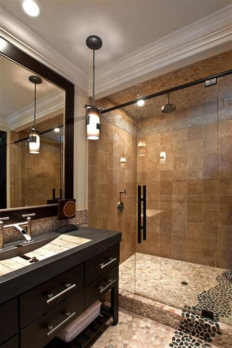 tan bathroom tile tan black pebble tile shower and bathroom flooring