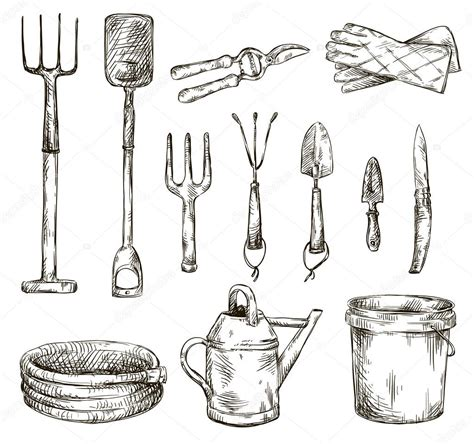 tools in drawing set of gardening tools drawings vector illustrations