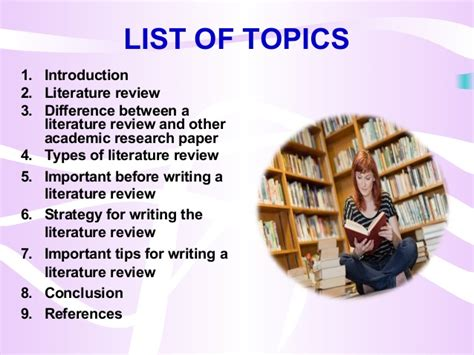 Literature Review Topics List by Literature Review An Introduction