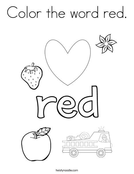 preschool red coloring pages color the word red coloring page twisty noodle