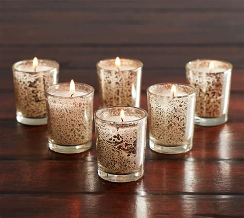 candele votive mercury glass votive candle set of 6 pottery barn