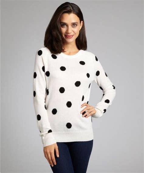 Kaos 18 Plus White black and white polka dot sweater aztec sweater dress
