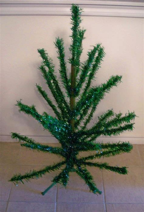 vintage green tinsel christmas tree from
