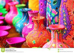 define colorful colorful artistic pots or flower vases in vibrant colors