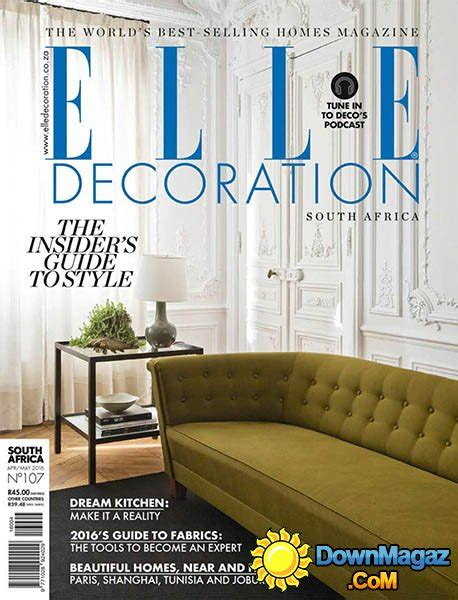 home decor magazines in south africa elle decoration sa april may 2016 187 download pdf