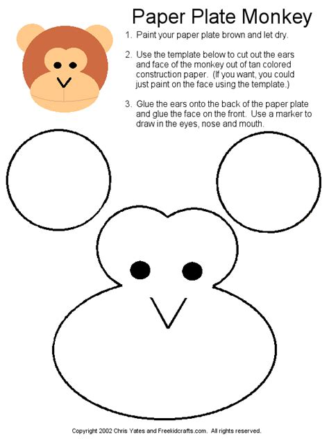 monkey template paper plate monkey project craft ideas