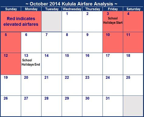 Calendar Cheapest Airfare Kulula October 2016 Flight Prices