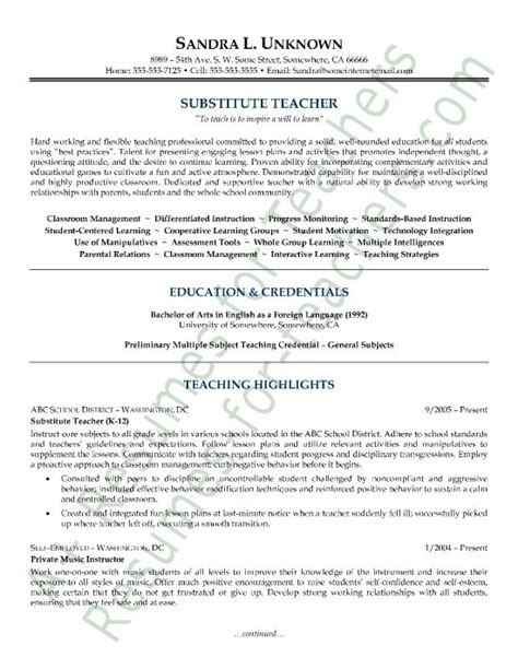 Substitute Resume Objective by Sle Resumes Sle Substitute Resume