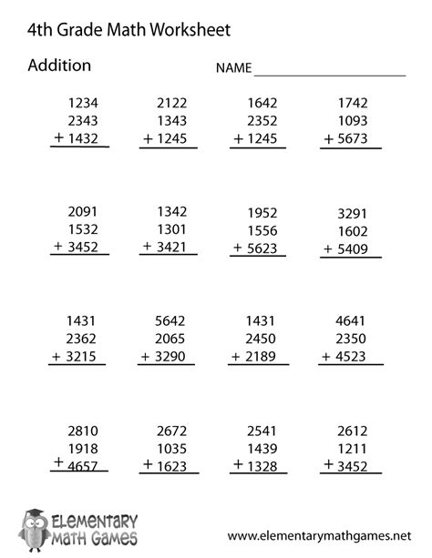 printable math worksheets for 4th grade fourth grade addition worksheet