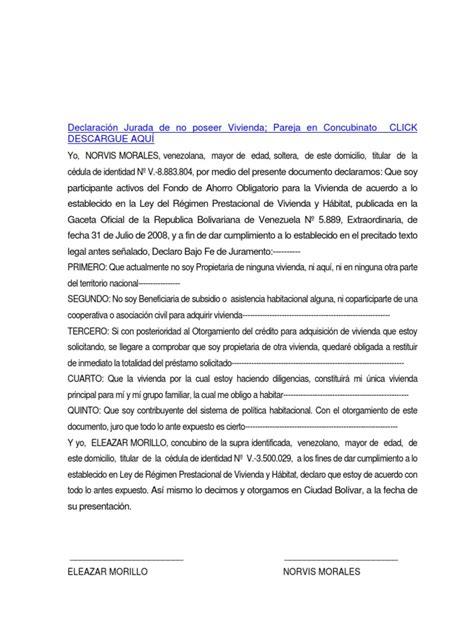 saren carta jurada para vivienda formato modelo ejemplo declaraci 211 n jurada de no poseer