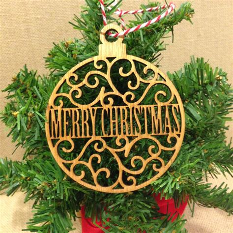 merry christmas wood ornament laser cut flourished design
