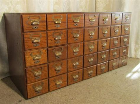 oak 35 drawer card index filing cabinet wine rack