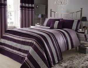 Hotel Duvet Cover Sets Aubergine Purple Colour Stylish Lace Diamante Duvet Cover