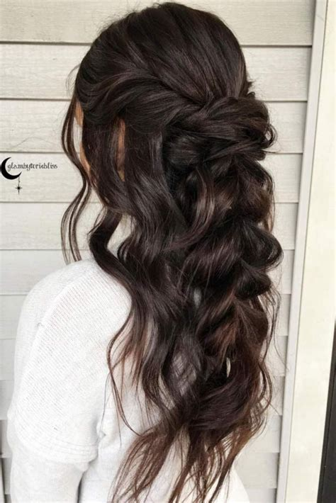 wedding hairstyles long brunette pretty half up bridesmaid hairstyles for long hair see