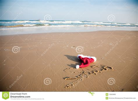 on the beach santa hat on the beach stock image image of holiday