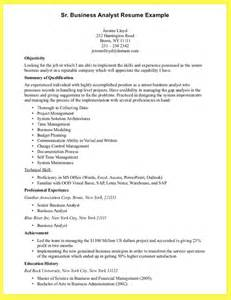 Resume Objective Exles For Business Analyst Business Analyst Resume Sle Resume Format