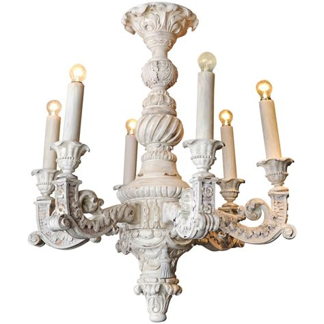 Large French Baroque Carved And Off White Painted Wooden White Wooden Chandelier