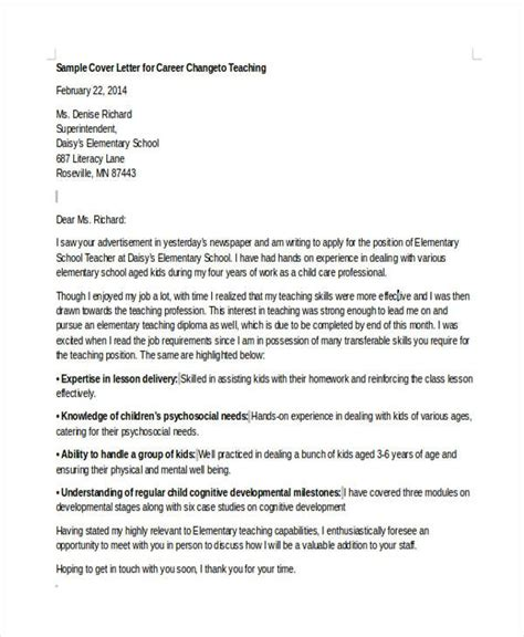 Sle Cover Letter Change Of Career by Career Change Cover Letter Gplusnick