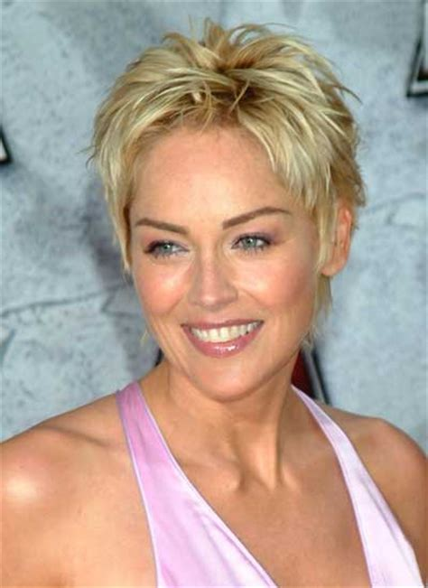 sharon stone short hair on round face sharon stone with short hair