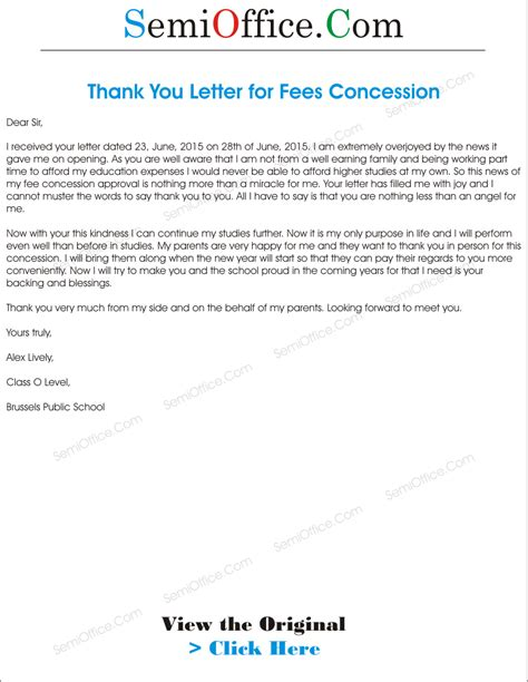 Request Letter Thank You request letter format for concession letter format 2017