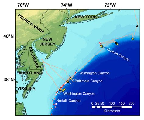 Us Continental Shelf by Map Of Northern U S Atlantic Margin Showing Major Canyons