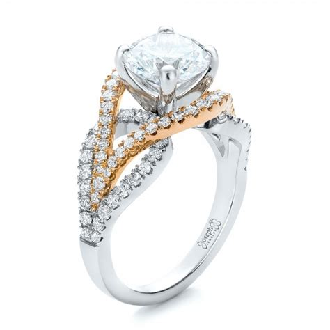 custom two tone wrapped shank engagement ring 101666