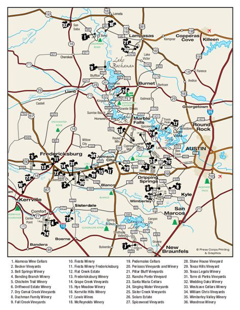texas wineries map hill country tour wines of the texas hill country from our pecan river ranch rental