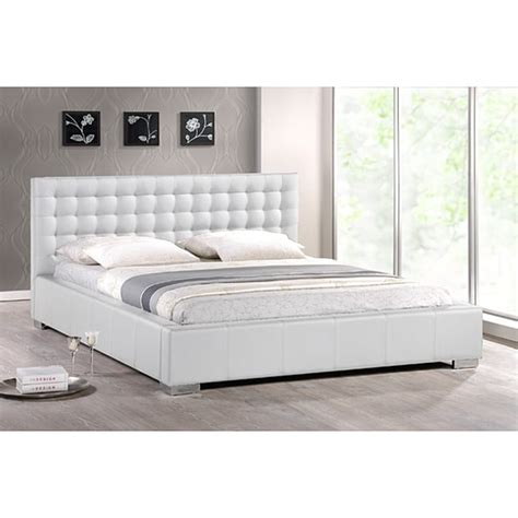 White King Size Upholstered Headboard White Modern King Size Bed With Upholstered